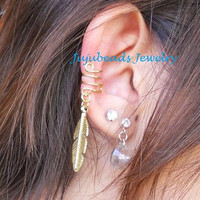 NO PIERCING REQUIRED Gold Feather Ear Cuff by jujubee4 on Etsy