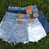 High Waisted Denim Shorts All Levi Jean Shorts Custom Made