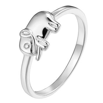 Sterling Silver Womens Elephant Ring 925 Trunk Up Unique Style Sizes 6 7 8