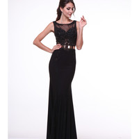 Black Sequin Sleeveless Gown With Gold Belt 2015 Prom Dresses
