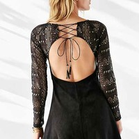FOXIEDOX Lace + Faux Suede Dress