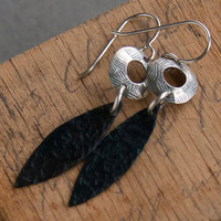 Mixed Metal Earrings - Sterling Silver Circle Brass Leaf Brown Textured Oxidized Metal Jewelry