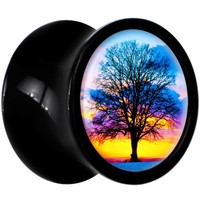 Body Candy Black Acrylic Sunset Tree Saddle Plug Pair 0 Gauge