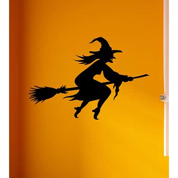 Witch Flying Broom Wall Decal Home Decor Vinyl Art Sticker Holiday October Halloween Trick or Treat Pumpkin Ghost Scary Skull Kids Boy Girl Family