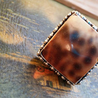 """Sea Shell Ring Square Ring Beaded Ring 925 Silver Ring Size 8 1/2 Ring Fossil Ring Cushion Ring Cocktail Ring  Oversized Ring  """"2015 SALE"""""""