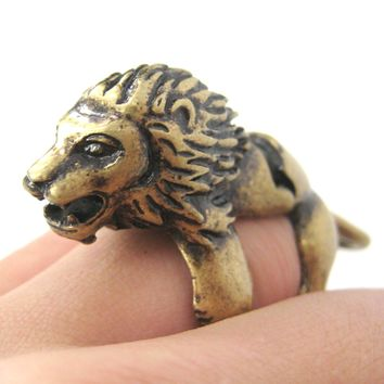 3D Lion Shaped Animal Wrap Armor Knuckle Joint Ring in Brass   Size 5 to 9