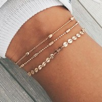 Summer Beach Three Layers Of Beads Chain Sequins Chain Multi-Layer Anklets Fashion Anklets