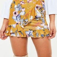 Missguided - Mustard Yellow Floral Wrap Mini Skirt