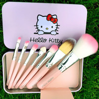 Hello Kitty Professional Portable 7pcs Makeup Brushes Set Cosmetic Tool Beauty ?Cosmetic Foundation Cream _ 3484