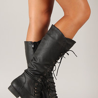 Round Toe Military Lace Up Knee High Boot