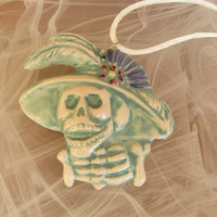 Day of The Dead Blue Green Ceramic Pendant Necklace