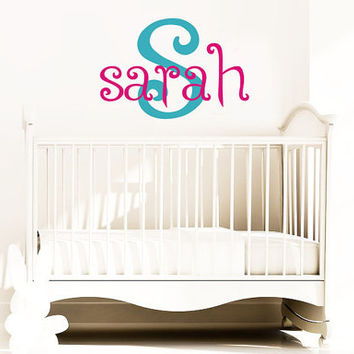 Children Baby Nursery Decals - Name Wall Decal - Boys Vinyl Custom Monogram Wall Decal Baby and Kids with Initial - Vinyl Deca wlall Art -