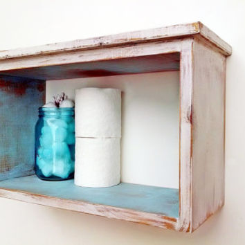 Bathroom Decor - Shabby Chic Bathroom Wall Shelf - Antique White / Turquoise French Country, Cottage Chic