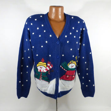 Ugly Christmas Sweater Vintage Cardigan Party Holiday Tacky Size M