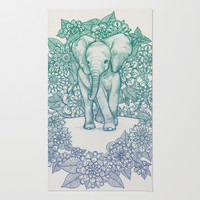 Emerald Elephant in the Lilac Evening Rug by Micklyn