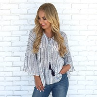 Sadie Stripe Peasant Top