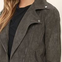 Catch You on the Flip Side Charcoal Grey Suede Moto Jacket