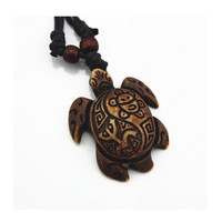 8PCS/Sets Adjustable Rope White Brown Tortoise Necklaces turtle Pendants For Women Men simulated-bone Vintage Jewelry