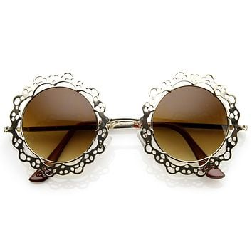 Womens Fashion Metal Lace Cut Round Circle Fashion Sunglasses 8963