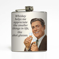 Whiskey Flask Shot Glass Liquid Courage Funny Groomsmen Usher Guys Men Dad 21st Birthday Gift Stainless Steel 6 oz Liquor Hip Flask LC-1453