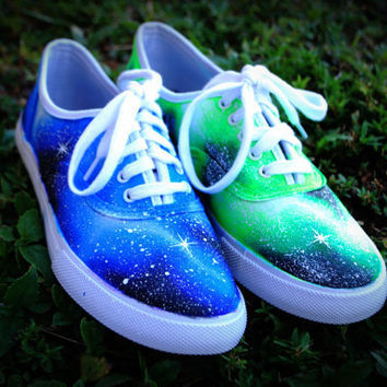 Blue and Green handpainted Galaxy Shoes