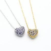 Heart pave necklace