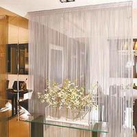 white beaded lace curtain