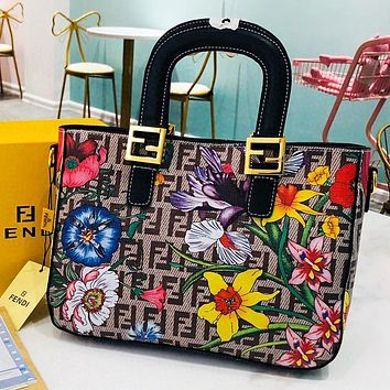 Hipgirls Fendi New fashion floral  more letter print high quality shoulder bag crossbody bag handbag