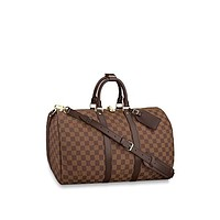 Louis Vuitton Luggage Travel Bag Damier Ebene Keepall Bandouliere (Keepall 45)