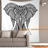 Jaipurhandloom Black and White Tapestries Elephant Mandala Hippie Tapestry Indian Traditional Throw Beach Throw Wall Art College Dorm Bohemian Wall Hanging Boho Twin Bedspread