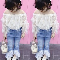 Toddler Kid Baby Girl Summer Outfits T Shirt Tops Bell Bottom Pants Jeans Pants