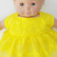 """Clothes Yellow Sleeveless Dress Handmade For American Girl Bitty Baby Doll 15"""""""