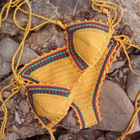 Yellow Limited Handmade Knitting Crochet Bikini Swimwear for Womens Beach Holiday Gift
