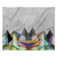 "Mareike Boehmer ""Colorflash 3X"" Grey Rainbow Fleece Throw Blanket"