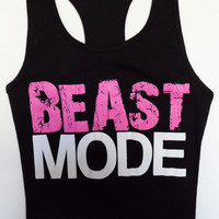 BEAST MODE Black Workout Tank Fitted, LARGE, Gym Tank Top, Fitness, Workout Clothes, Crossfit, Beast Mode On, Workout Shirt, Running
