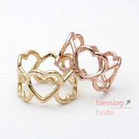 open HEART thumb ring, 3 colors