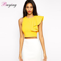 Womens Tops Fashion 2016 Sexy Crop Top One Shoulder Ruffle o Neck Sleeveless Tops Women Fitness Cropped Top Black/Yellow