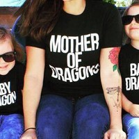 Mother of Dragons T Shirt and Daughter Baby Dragon Shirt