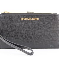 Michael Kors Jet Set Double Zip Phone Wristlet Wallet Clutch Black Leather New