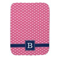 Pink and Blue Whimsical Whales Pattern Monogram Baby Burp Cloth