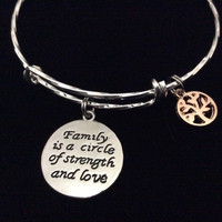 Family is a Circle of Strength and Love Expandable Charm Bracelet Silver Adjustable Bangle Trendy Gift Tree of Life