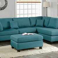 3 pc Martinique collection teal polyfiber fabric upholstered sectional sofa with reversible chaise and ottoman