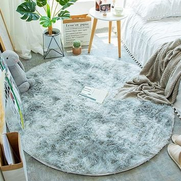 Fluffy Round Rug Carpets for Living Room Decor Faux Fur Rugs Kids Room Long Plush Rugs for Bedroom