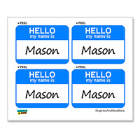Mason Hello My Name Is - Sheet of 4 Stickers