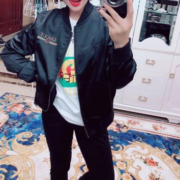 Gucci Women Fashion Casual All-match  Simple Edgy Solid Long Sleeve  Color Baseball Clothing