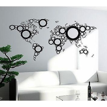 Wall Mural World Map Atlas Travel Vacation Vinyl Sticker For Living Room Unique Gift (z2827)