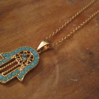 Hamsa Hand Necklace - Blue Beaded Gold Hamsa Hand necklace