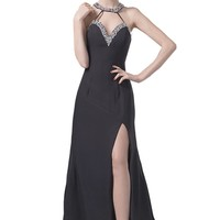 Dlass Crystal Halter Slit Front Long Prom Dresses Black