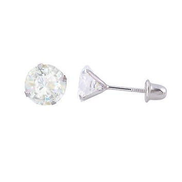 14k White Gold Stud Earrings Screwbacks CZ Cubic Zirconia Prong Set Round Clear