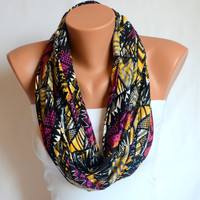 infinity scarf - cotton jersey tribal infinity scarf circle scarf  loop scarf fashion scarf bithday gift christmas gifts neck warmer